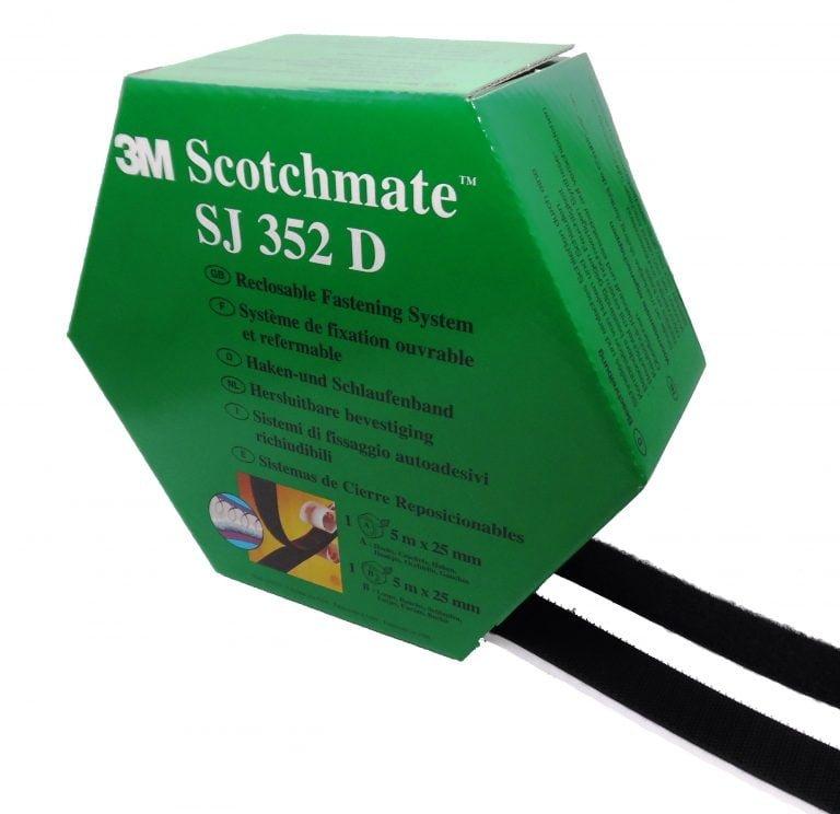 3M™ SYSTÈME D'UNION DÉMONTABLE SJ352D, (SJ3526 + SJ3527) VELCRO AVEC ADHÉSIF, NOIR